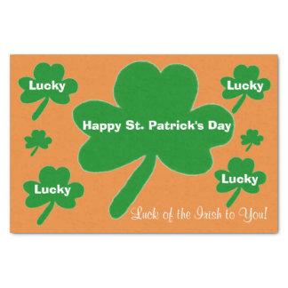 St. Patrick's Day Shamrocks Orange White Green Tissue Paper