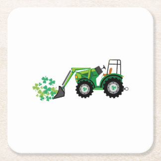 St. Patrick's Day Shamrocks Tow Truck For Boy Kids Square Paper Coaster