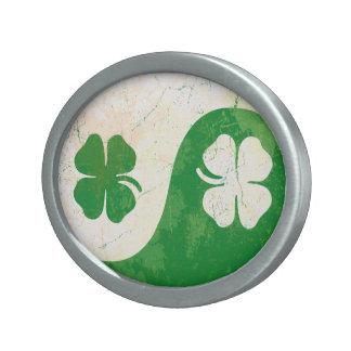 St Patricks Day Shamrocks Yin Yang Belt Buckles