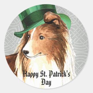 St. Patrick's Day Sheltie Round Sticker