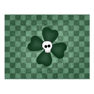 St Patricks Day skull and shamrock Postcard