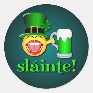 St Patricks Day Sláinte Round Stickers Round Sticker
