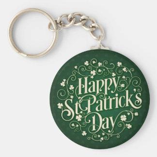 St. Patrick's Day - Swirled Word Art Keychain
