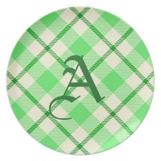 St. Patrick's Day Tartan Plaid Green Plate