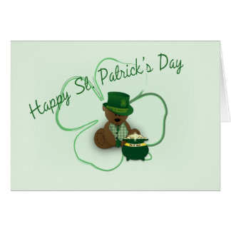 St. Patrick's Day Teddy Bear Note Card