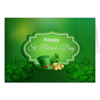 St. Patrick's Day Top Hat & Coins - Customize Card