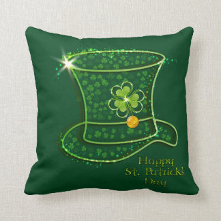 St. Patrick's Day Top Hat & Coins Throw Pillow