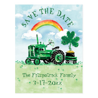 St. Patrick's Day Vintage Tractor Save the Date Postcard