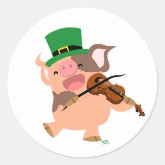 St Patrick's Day violinist pig round sticker
