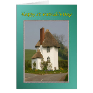 St Patrick's Day White Hut with Thatched Roof Card