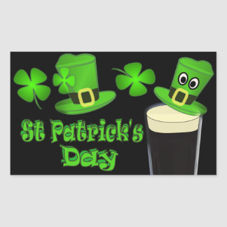 St Patricks Day with Hat Rectangular Stickers