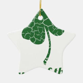 st patricks distressed lucky clover ceramic ornament