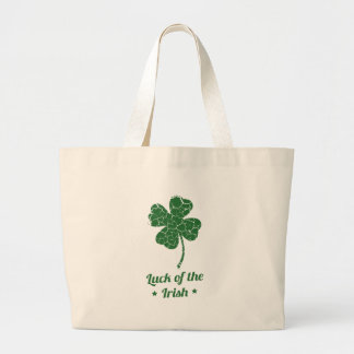 st patricks distressed lucky clover large tote bag