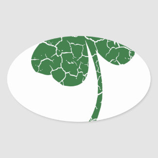 st patricks distressed lucky clover oval sticker