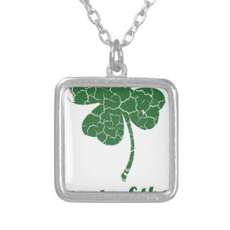 st patricks distressed lucky clover silver plated necklace