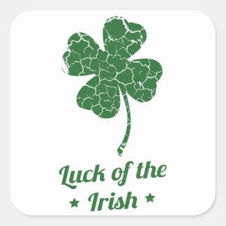 st patricks distressed lucky clover square sticker