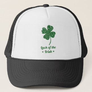 st patricks distressed lucky clover trucker hat