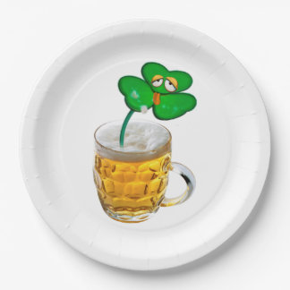 ST PATRICKS DRUNK SHAMROCK IN BEER, PAPER PLATE