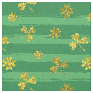 st patricks golden shamrocks fabric