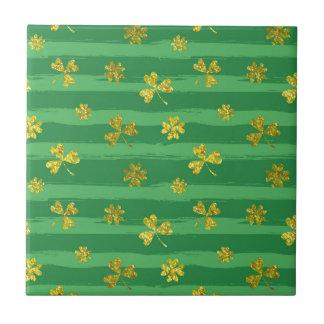 st patricks golden shamrocks tile
