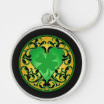 St. Patrick's Heart Lucky Charm Silver-Colored Round Keychain