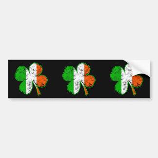 St Patricks Irish Flag Shamrock in grunge style Car Bumper Sticker