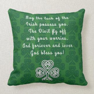 ST PATRICKS IRISH GOOD LUCK AND BLESSINGS PILLOW