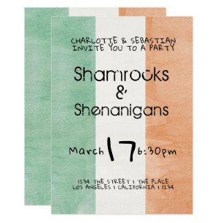 St Patricks Irish Shamrocks Shenanigans Watercolor Card