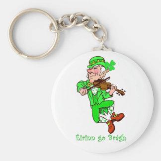 St. Patrick's Leprechaun playing fiddle Keychain