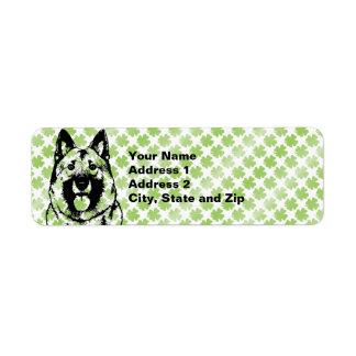 St Patricks - Norwegian Elkhound Silhouette Return Address Label