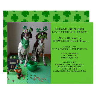 St. Patrick's Party Dogs with Shanrocks Invitation