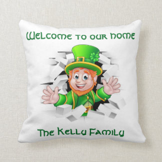 St. Patrick's 'Personalized Leprechaun Our Home Throw Pillow