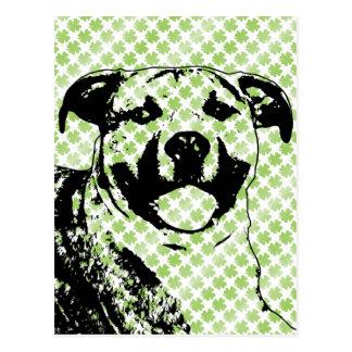 St Patricks - Pitbull  Silhouette - Tigger Postcard