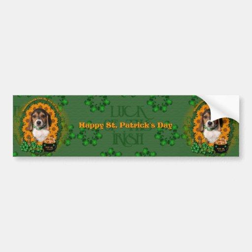 St Patricks - Pot of Gold - Beagle - Puppy Bumper Sticker
