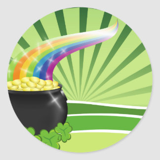 St.Patrick's Pot of Gold Classic Round Sticker