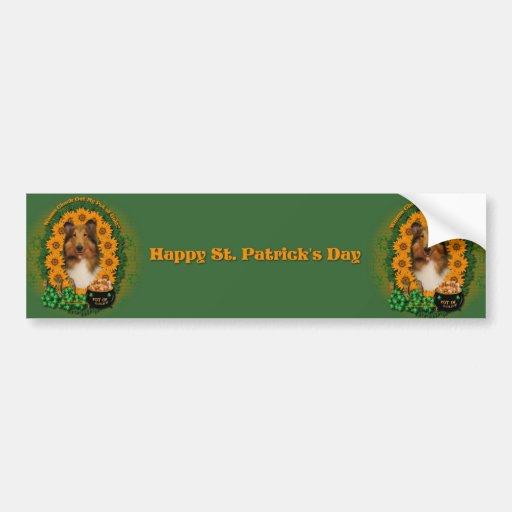 St Patricks - Pot of Gold - Collie - Natalie Bumper Stickers