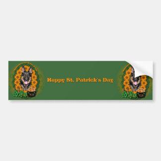St Patricks - Pot of Gold - German Shepherd - Kuno Car Bumper Sticker