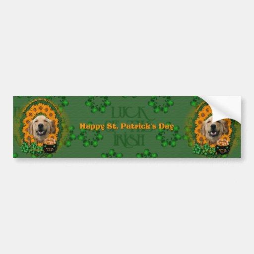 St Patricks - Pot of Gold -Golden Retriever Mickey Bumper Stickers
