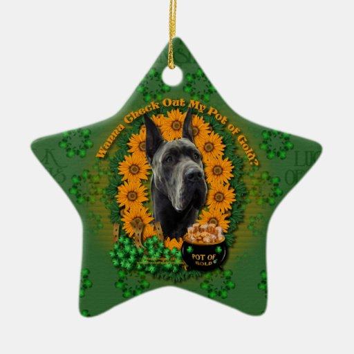St Patricks - Pot of Gold - Great Dane - Grey Christmas Tree Ornament