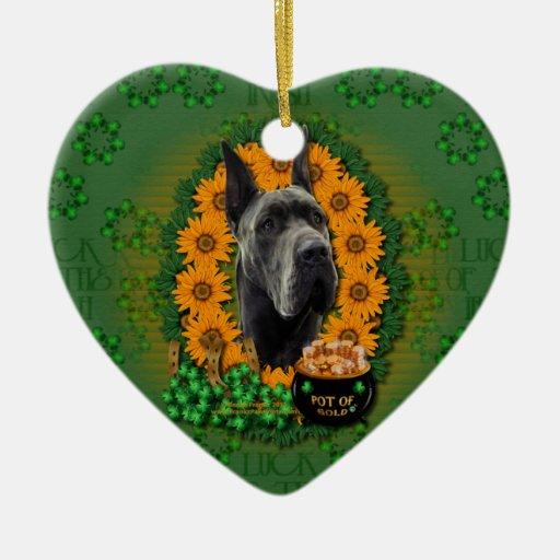 St Patricks - Pot of Gold - Great Dane - Grey Christmas Tree Ornaments