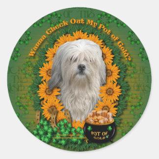 St Patricks - Pot of Gold - Lowchen Round Stickers