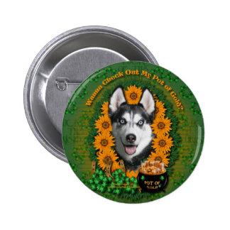 St Patricks - Pot of Gold - Siberian Husky Pinback Button