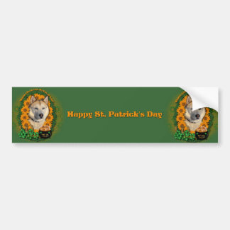 St Patricks - Pot of Gold - Siberian Husky -Copper Bumper Stickers