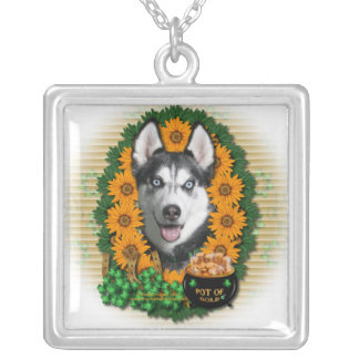 St Patricks - Pot of Gold - Siberian Husky Square Pendant Necklace