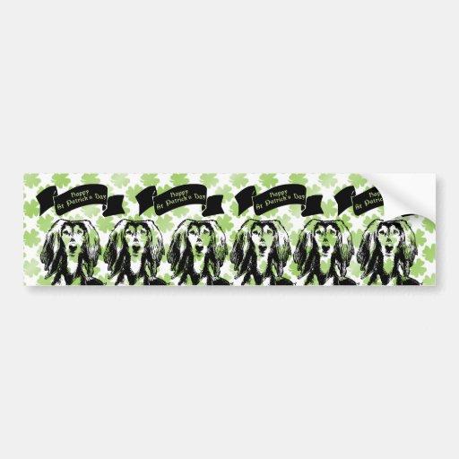 St Patricks - Saluki Silhouette Bumper Stickers