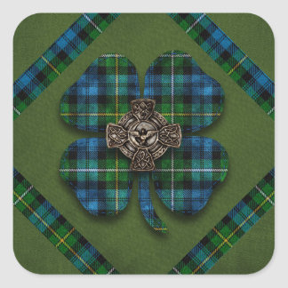 St. Patrick's Shamrock Tartan Celtic Cross Square Sticker