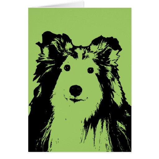St Patricks - Sheltie Silhouette Card