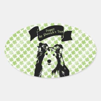 St Patricks - Sheltie Silhouette Sticker