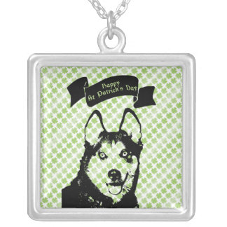 St Patricks - Siberian Husky Silhouette Custom Necklace