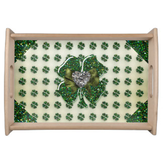 St. Patrick's Sparkly Shamrock with Heart Serving Tray